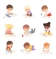 Cute children drawing pictures with colorful vector
