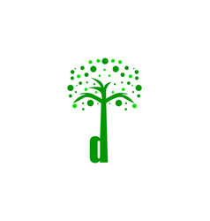 d letter tree logo vector image