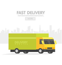 delivery car and set of cardboard boxes delivery vector image