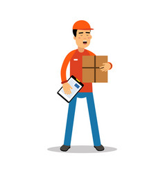 delivery man holding cardbox and check list vector image