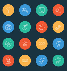 Dental icons line style set with vitamins braces vector