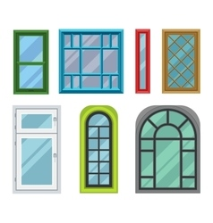 Different house windows elements vector