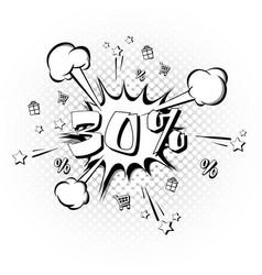 discount 30 percent pop art retro style vector image