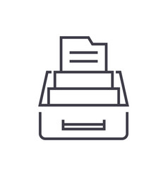 Document archivebox with files line icon vector