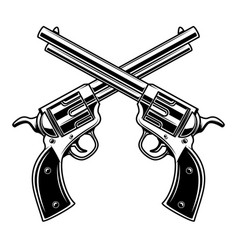 Emblem template with crossed revolvers design vector