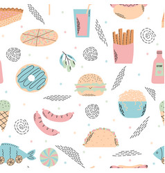 fast food seamless pattern background for menu vector image