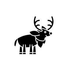 festive deer black icon sign on isolated vector image
