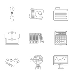 Finance icons set outline style vector