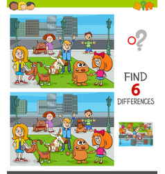 Find differences game with kids and dogs group vector