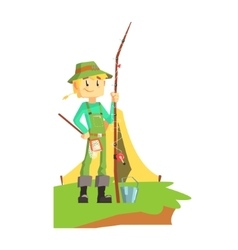 Fisherman Outdoors With Tent On The Background vector image