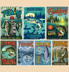 Fishing vintage colorful posters collection vector