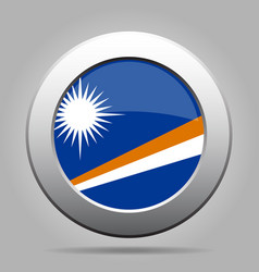 flag of marshall islands metal gray round button vector image