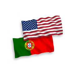 Flags portugal and america on a white vector