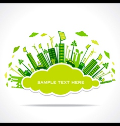 Go green or save earth with cloud shape sticker vector