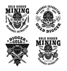 Gold digger set four monochrome emblems vector