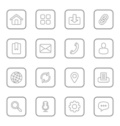 Gray line web icon set rounded rectangle vector