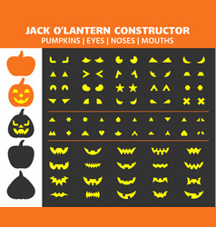 Halloween pumpkin simple flat icons set vector