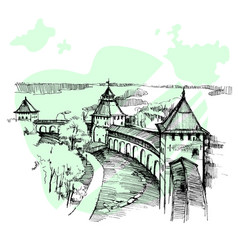 hand drawn russian kremlin urban sketch vector image