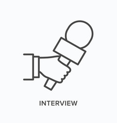 Hand holding microphone flat line icon vector