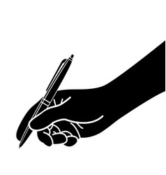 Hand with pen writing drawing silhouette vector