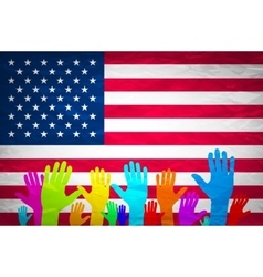 hand with USA flag Grunge USA Flag american vector image