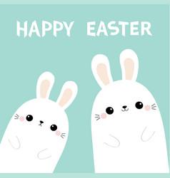 happy easter two rabbit bunny in corner vector image