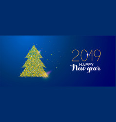 happy new year 2019 gold glitter holiday pine tree vector image