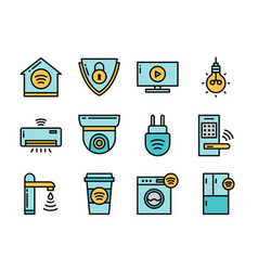 home smart devices icon set colorline style vector image