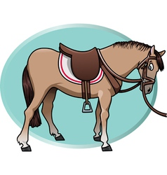 horse and saddle vector image