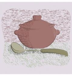 hot silver pan tableware illustration vector image