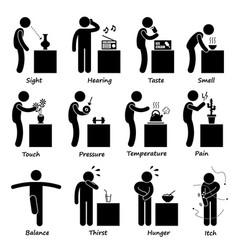 Human senses stick figure pictogram icons a set vector