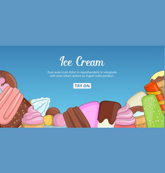 Ice cream choice banner horizontal cartoon style vector