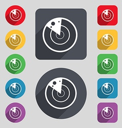 icon sign A set of 12 colored buttons and a long vector image