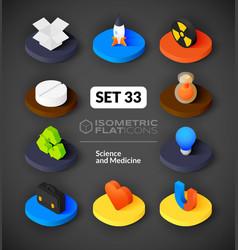 Isometric flat icons set 33 vector