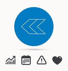 Left arrow icon previous sign vector