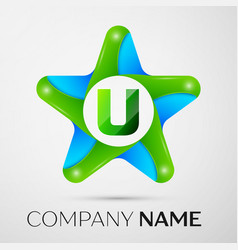 Letter u logo symbol in the colorful star on grey vector