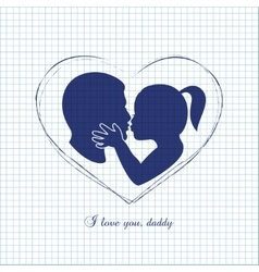Little girl kissing her dad on Fathers Day vector image