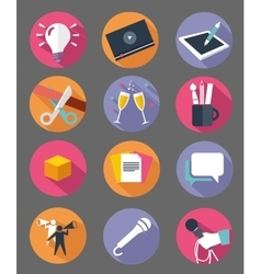 Marketing icon set with long shadow effect vector