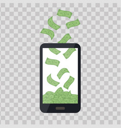 mobile telephone with money pile on transparent vector image