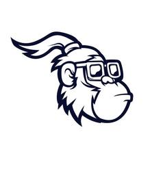 monkey with glasses mascot logo design long vector image