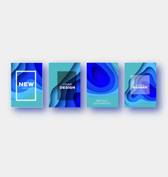 neon blue paper cut wave shapes layered curve vector image