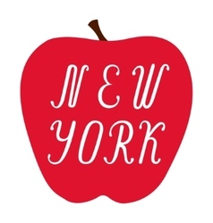 New York lettering on a big red apple vector