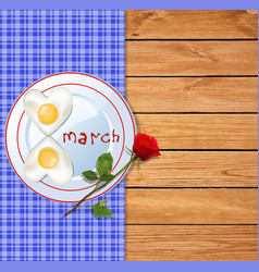 omelette on plate with ketchup 8 march letters vector image