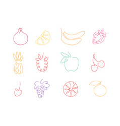 One line set fruits for smoothie juice vector