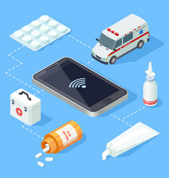 online medical app for first aid isometric vector image