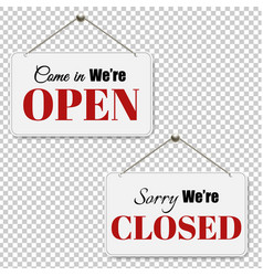 open and closed signs set transparent background vector image