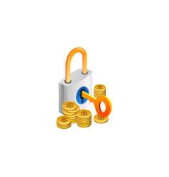 Padlock with cash isometric symbol vector
