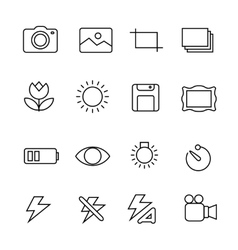 Photography icons on white background vector image