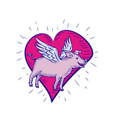 pig with wings flying heart doodle vector image