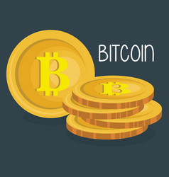 pile bitcoins commerce icons vector image